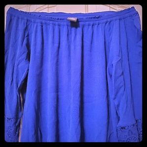 Chelsea & Theodore XL blue,EUC, 3/4 sleeves w/lace
